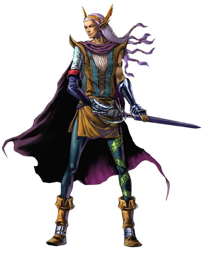 文明中心地:El Runie Liber 初期能力值:力量60, 敏捷95, 体力55, 智能105, 威严55 推荐职业:游吟诗人,巫师,祭司,德鲁伊 种族特征:拥有纤细身材的美丽的树丛的种族。寿命很长,具有超人的智慧和判断力。虽然体力稍弱但精神力强并且对魔法的使用也有相当的素质,喜欢用敏捷的身手在短时间内决定胜败。