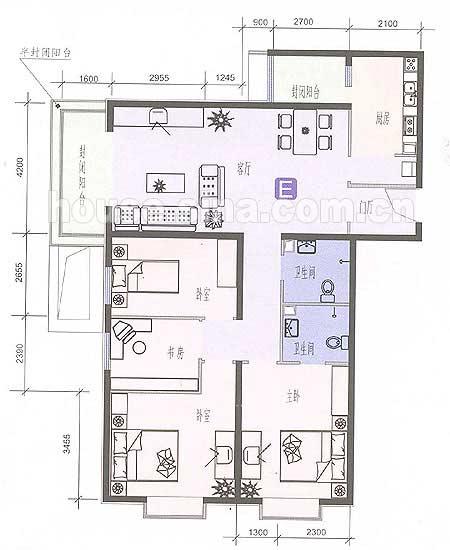 四室一厅房屋平面图