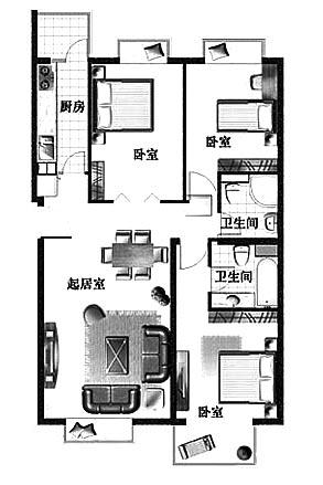 澳洲康都为三室一厅二卫格局,相应减少了餐厅的设计,生活休闲空间相对图片