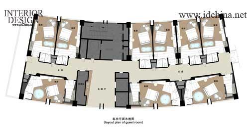客房平面布置图-酒店设计大师赛 杨邦胜作品 布置图