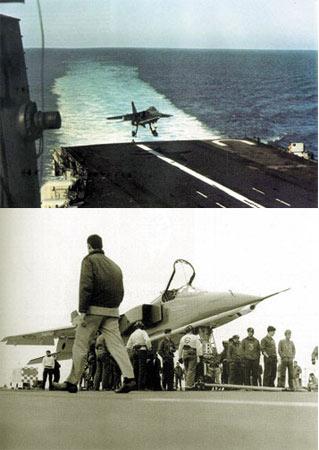 上图为美洲虎m进行着舰操作,该机性能优秀后因政治