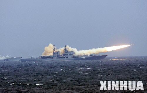 图文:俄海军导弹驱逐舰发射反舰导弹