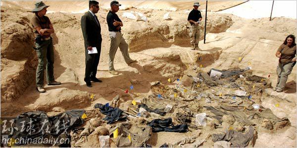 巴格达以南沙漠惊现18万人坑萨达姆所为(图)