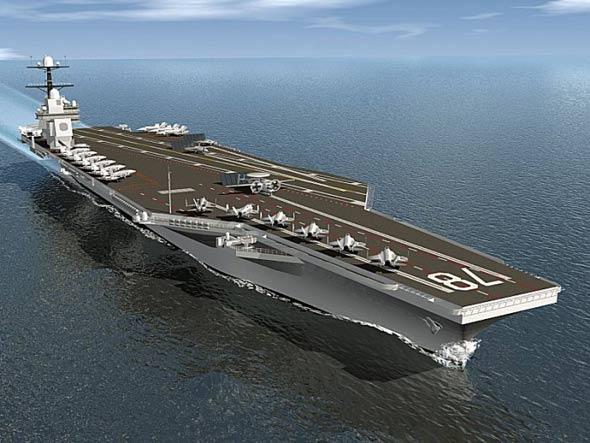 美下一代航母将装备电磁轨道炮激光等新武器