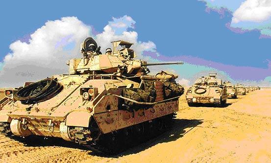 美英联军装甲部队在伊拉克境内所向披靡(附图)