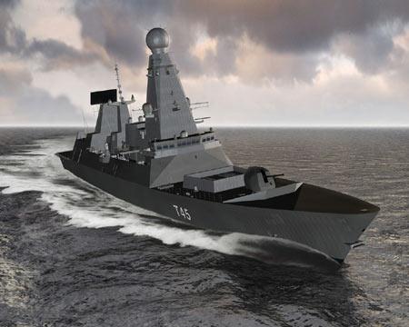 英国海军首艘45型驱逐舰勇敢号下水(组图)