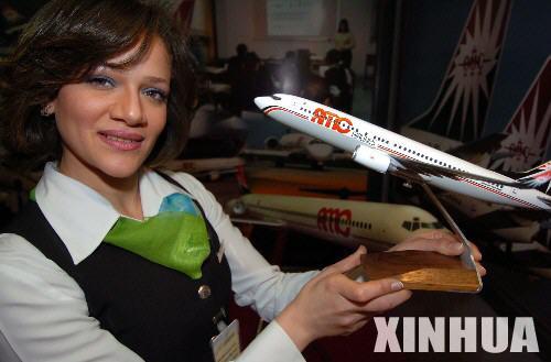 图文:埃及amc航空公司的展示该公司的飞机模型