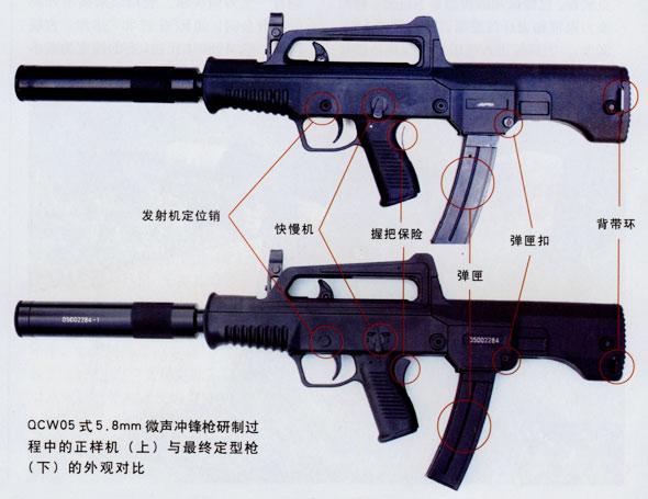 图文:QCW05式微声冲锋枪样枪与定型枪对比