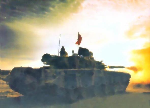 图文:99式主战坦克前主炮射击