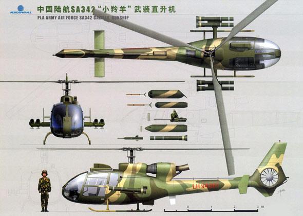 图文:中国陆航小羚羊直升机三视图