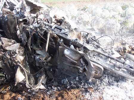 组图:战机爆炸后散落在菜地上的残骸