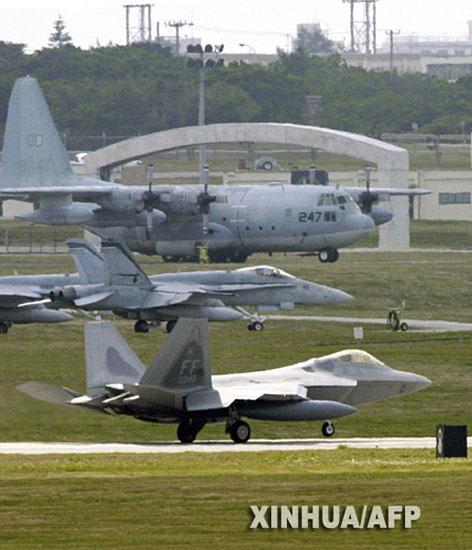 组图:美军F-22A型猛禽战斗机抵达日本