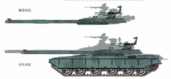 图文:074式与现役98式坦克炮塔及全车对比