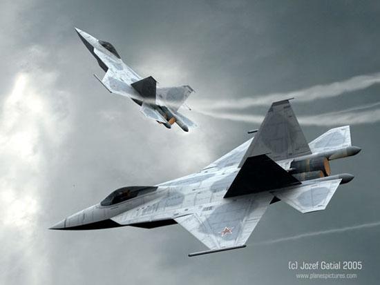 图文:俄军未来五代战机双机空中巡航想像图