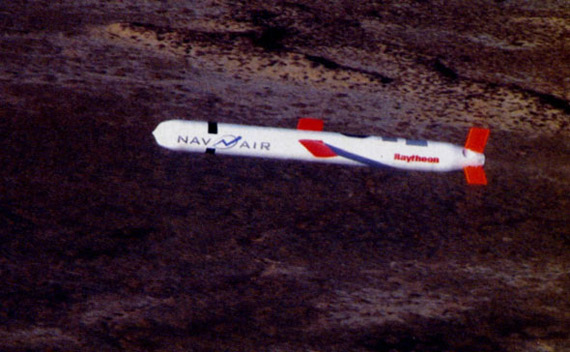 """图文:进行飞行试验的""""战斧IV""""巡航导弹"""