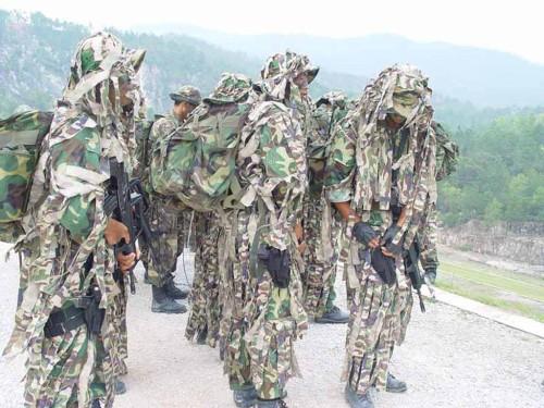 图文:身着迷彩装的解放军侦察兵