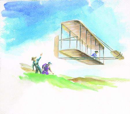 目击人类第一次飞机飞行