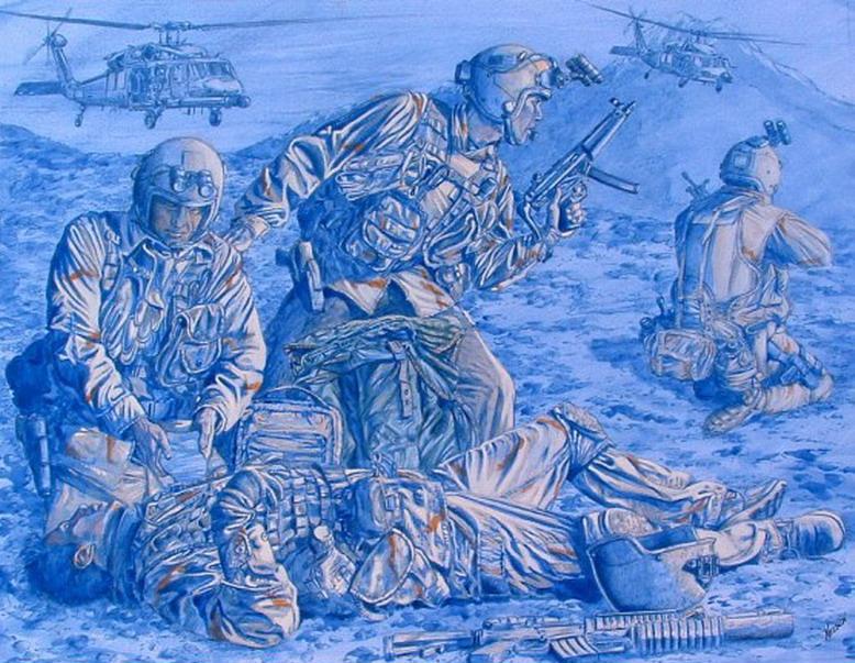战斗中的军人手绘图集