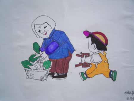 孝敬老人儿童简笔画