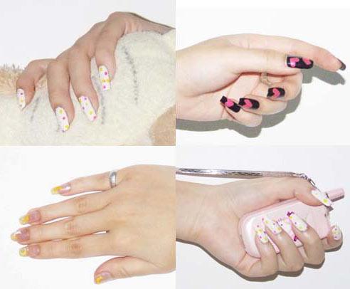 四款不同的原创彩绘指甲