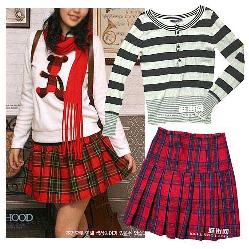 ;红色格纹短裙/¥160
