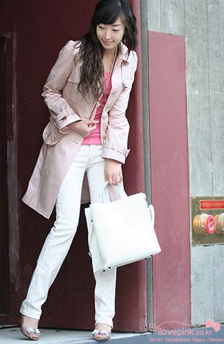 风衣 长款 粉色