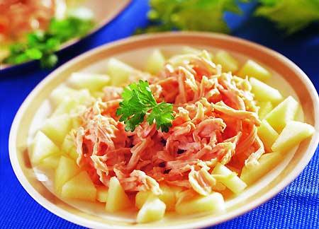 低脂爽口:凉拌青苹果鸡肉丝(图)