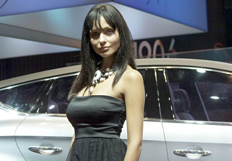 图为本届巴黎车展美女模特图片.