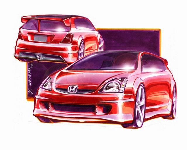 图为本田原厂手绘设计图,包括飞度,思域,sut等车型.