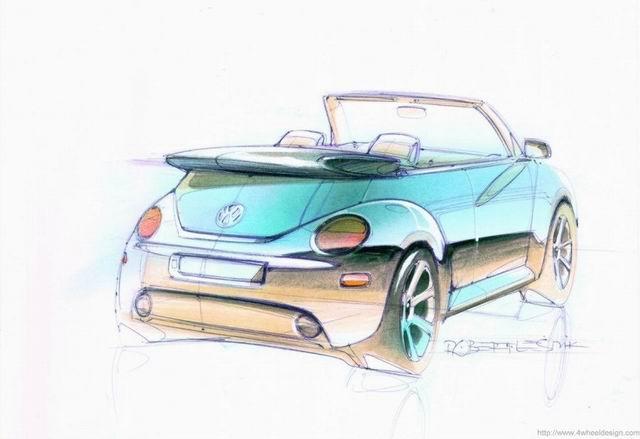 甲壳虫汽车 手绘