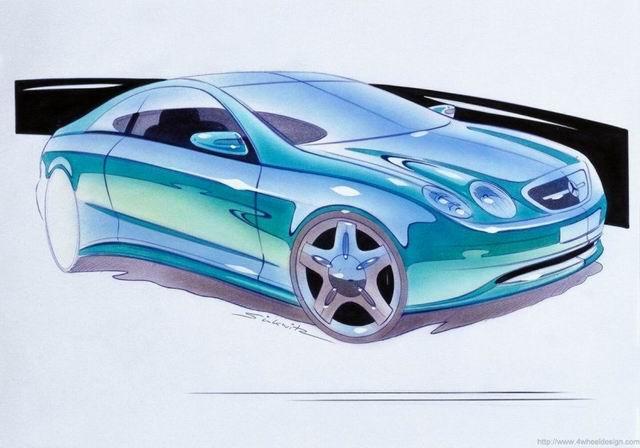 奔驰原厂手绘设计图