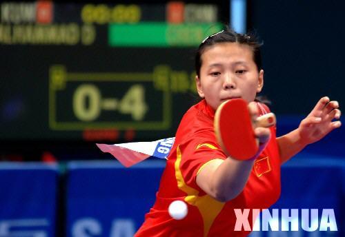 图文-亚运中国乒球女团开门红陈晴杀得兴起