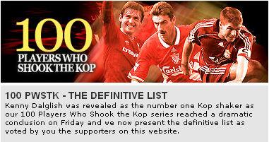 利物浦推出历史百星排行:杰拉德第二欧文前10之外