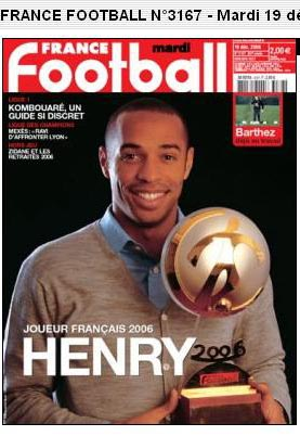 法国年度足球先生揭晓亨利力压齐祖马克莱莱捧杯