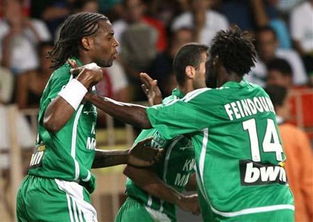 图文-[法甲]摩纳哥1-2圣埃蒂安里克奥尼庆祝进球