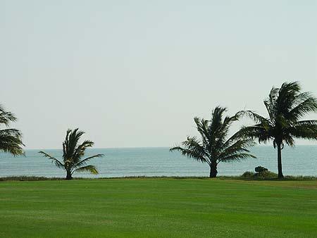 图文-海南南燕湾高尔夫球场地道的海景球场