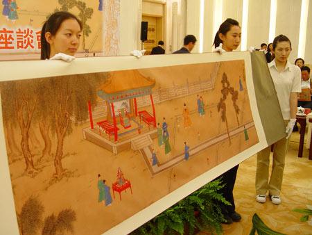 图文-中国捶丸复原艺术品观摩会展示明宣宗行乐图