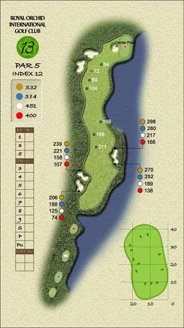 图文-君兰国际高尔夫球场第十三洞计算精确