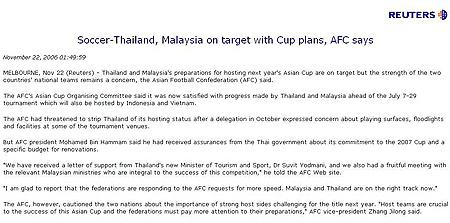 马泰两国加紧亚洲杯筹备东道主队状况让亚足联心忧