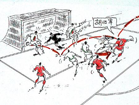 进球图解-伊朗国奥vs中国国奥 胡兆军头球建功