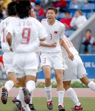 图文-[世少赛]中国1-1哥队唐乃鑫庆祝进球