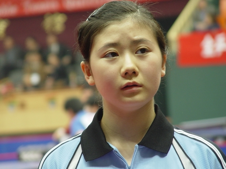 图文-奥运乒球预选双打赛 瓷娃娃福原爱精致可爱