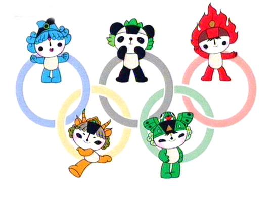 """北京奥运吉祥物揭晓福娃""""北京欢迎你""""亮相(图)"""