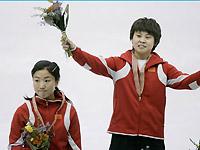 短道世锦赛女子500米王�鞣夂竽凶幼槔钶镩�摘银