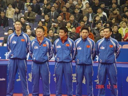图文-中外乒球赛首合中国完胜国乒男单五虎亮相
