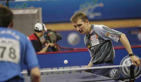 图文-世乒赛男单首日比赛施拉格轻松对比赛