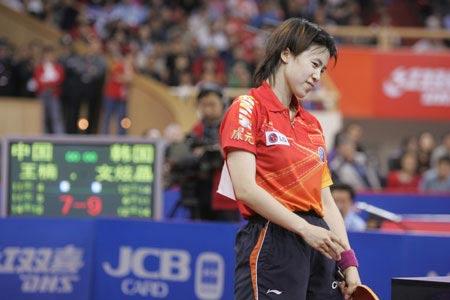 图文-世乒赛爆冷王楠出局卫冕冠军无奈韩国黑马