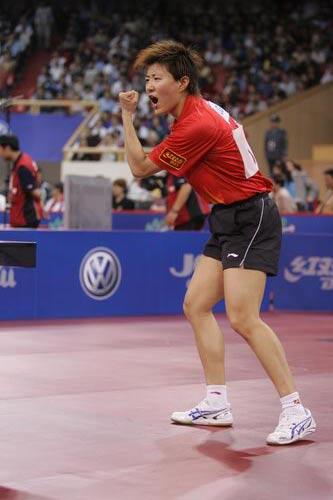 图文-世乒赛女单第三轮激战郭焱大吼一声助威