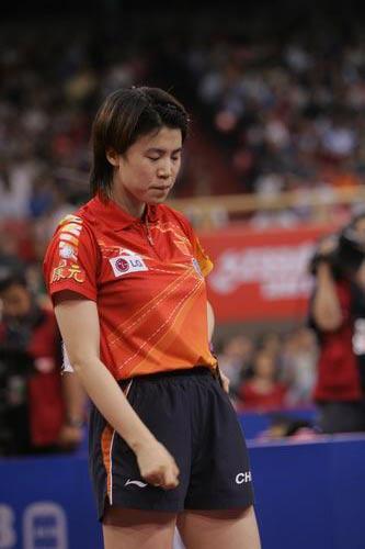 图文-世乒赛女单第三轮激战王楠输球郁闷了