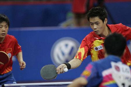 图文-世乒赛混双半决赛激战队友比赛互不相让